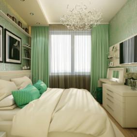Rideaux verts dans la chambre