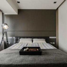Chambre de couleur grise minimaliste
