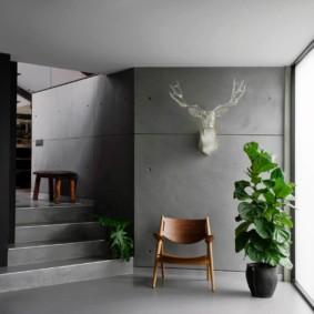 Surfaces des murs en béton gris