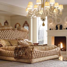 Conception de la chambre avec une vraie cheminée