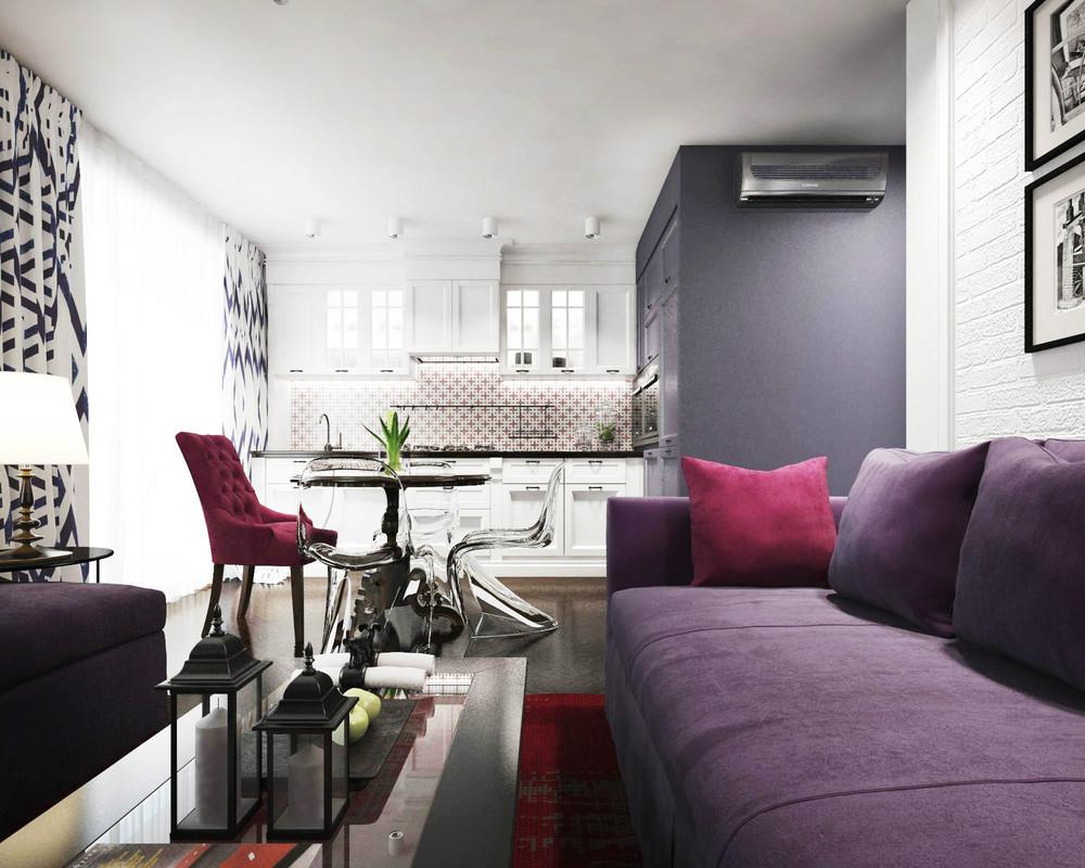 Tapisserie d'ameublement violet dans une salle commune