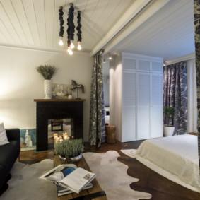 phòng khách và phòng ngủ trong một bức ảnh trang trí phòng