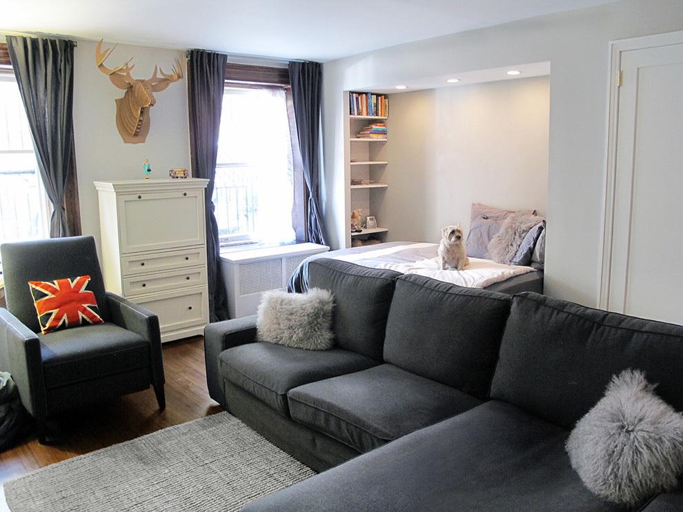 phòng khách và phòng ngủ trong một phòng trang trí