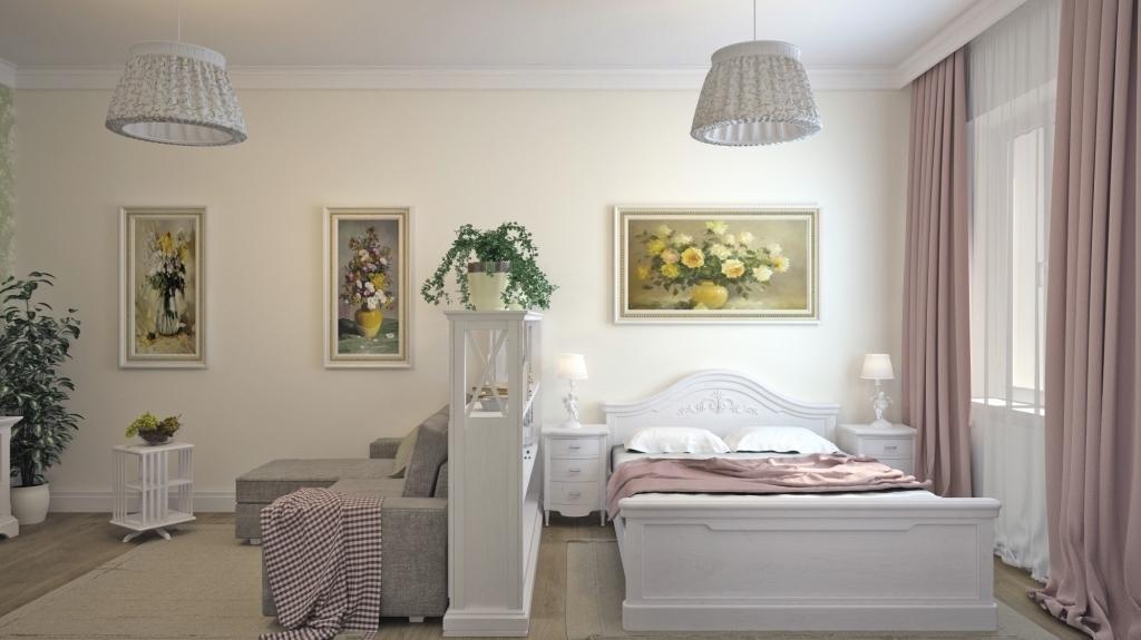 phòng khách và phòng ngủ trong một phòng ảnh thiết kế