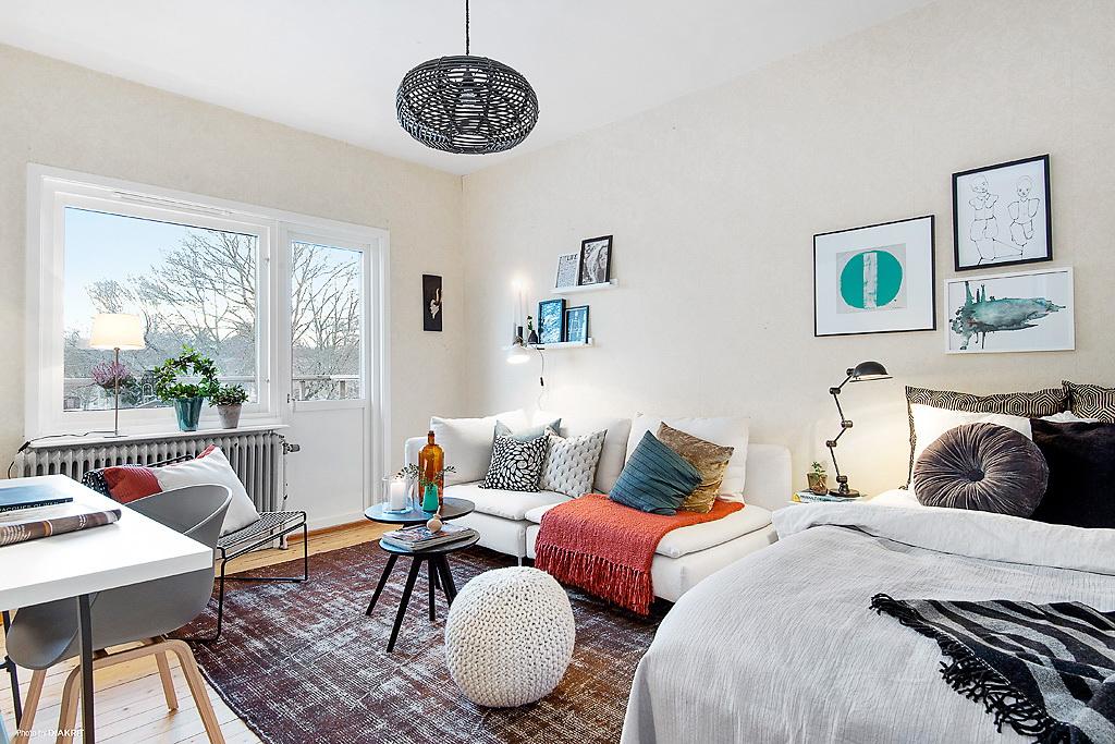 phòng khách và phòng ngủ trong một phòng thiết kế