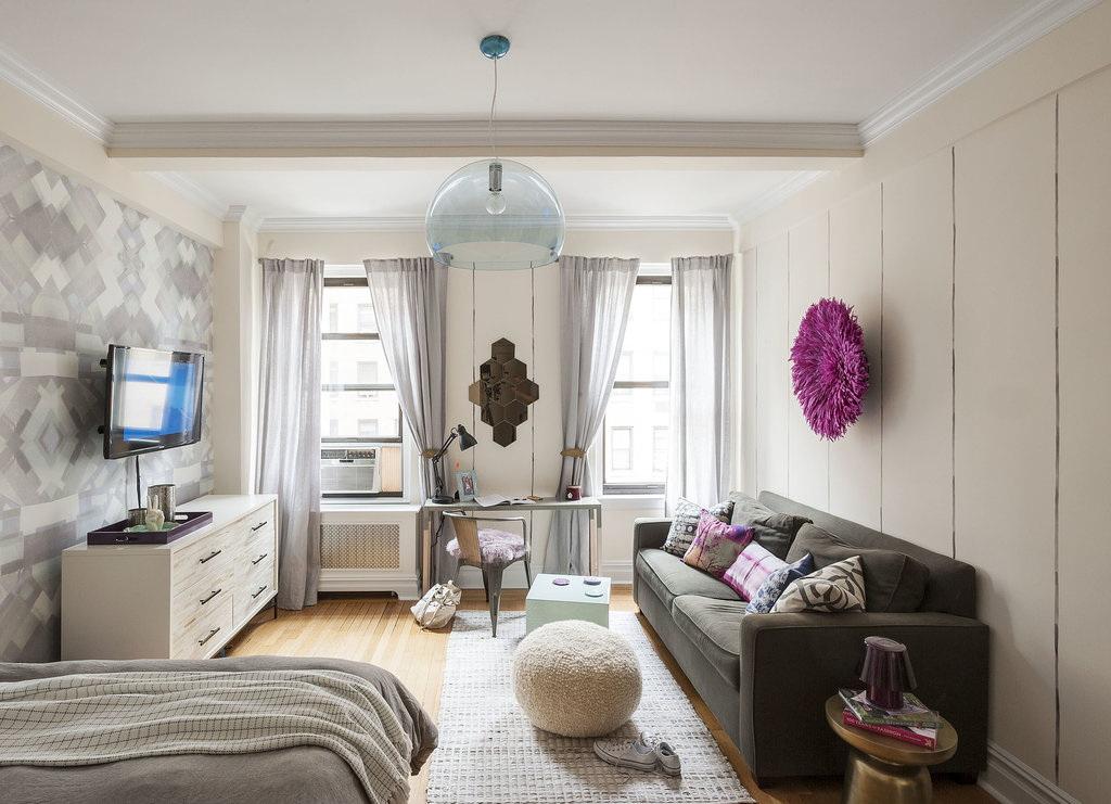 phòng khách và phòng ngủ trong một phòng ảnh nội thất