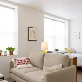 phòng khách và phòng ngủ trong một phòng xem xét hình ảnh