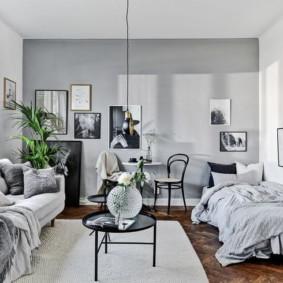 phòng khách và phòng ngủ trong một phòng đánh giá hình ảnh