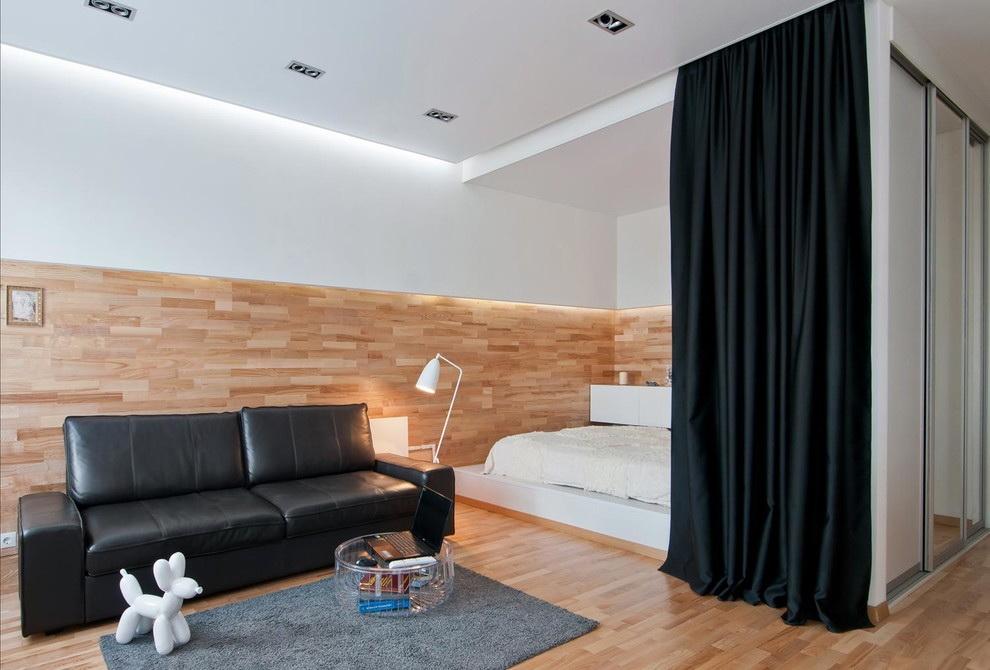 phòng khách và phòng ngủ trong một phòng tùy chọn ảnh