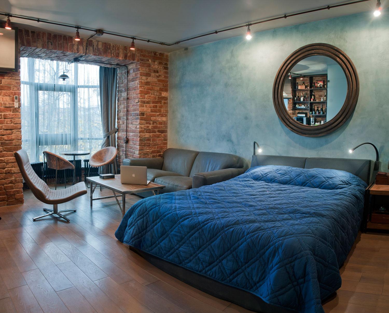 phòng khách và phòng ngủ trong một phòng ảnh