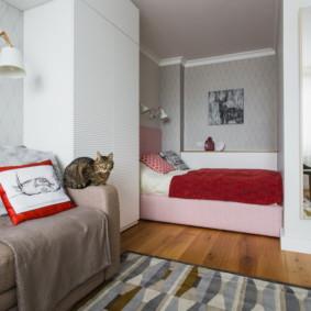 phòng khách và phòng ngủ trong cùng một ý tưởng trang trí phòng