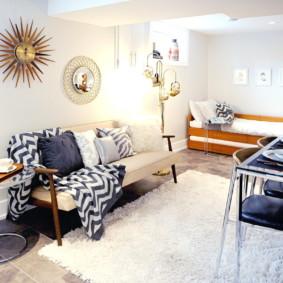 phòng khách và phòng ngủ trong một bức ảnh ý tưởng