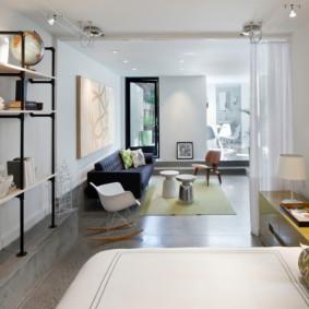 phòng khách và phòng ngủ trong một phòng ý tưởng nội thất