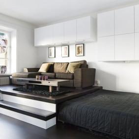 phòng khách và phòng ngủ trong một phòng tổng quan ý tưởng