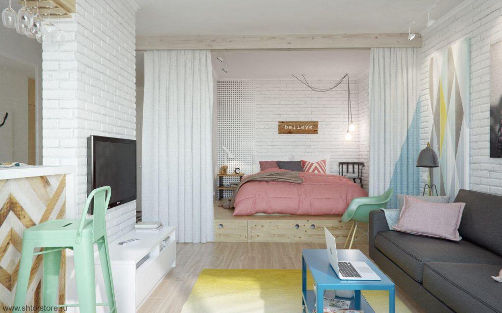 phòng khách và phòng ngủ trong một ý tưởng đánh giá