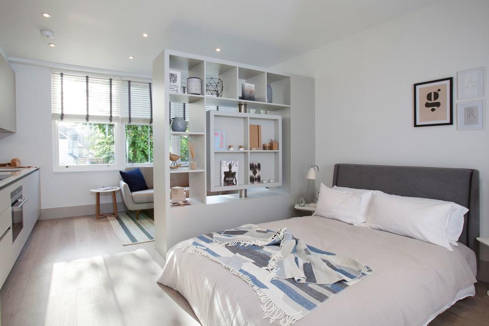 phòng khách và phòng ngủ trong một phòng tùy chọn ý tưởng