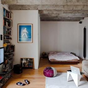 phòng khách và phòng ngủ trong một phòng xem ý tưởng
