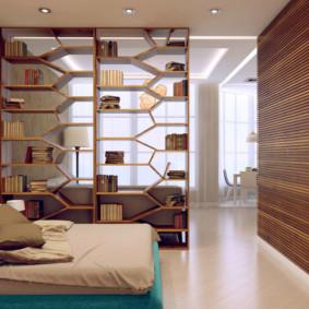 phòng khách và phòng ngủ trong một phòng ý tưởng