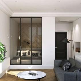 phòng khách và phòng ngủ trong một phòng xem xét ý tưởng