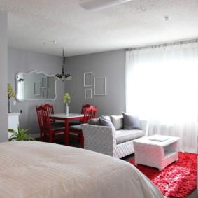 phòng khách và phòng ngủ trong cùng một phòng