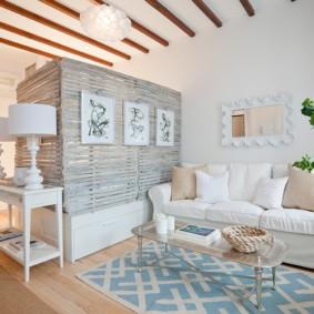 phòng khách và phòng ngủ trong một ý tưởng trang trí phòng