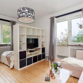 phòng khách và phòng ngủ trong một phòng loại ý tưởng