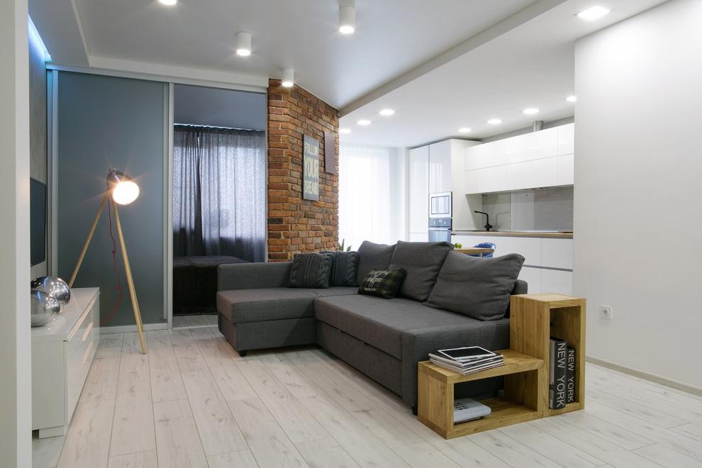phòng khách và phòng ngủ trong một phòng