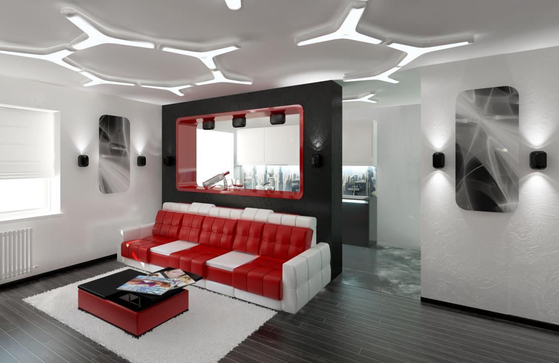 décor de salon de haute technologie