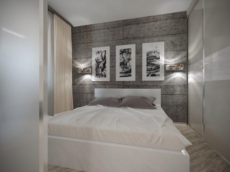 Intérieur d'une chambre moderne avec un minimum de mobilier