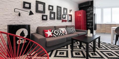 maçonnerie dans la conception photo de l'appartement