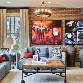 mur de briques dans le décor photo du salon