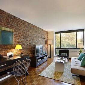 mur de briques dans le salon photo intérieur