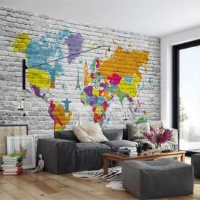 mur de briques dans le salon vues photo