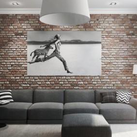 Bakstenen Muur In Het Interieur Van De Woonkamer Gecombineerd Met Behang Echte Foto S