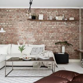 mur de briques dans les idées de conception de salon