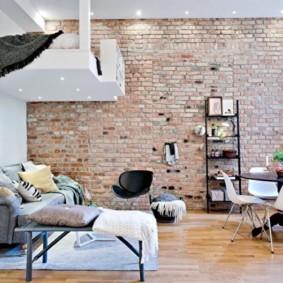 mur de briques dans le salon sortes d'idées