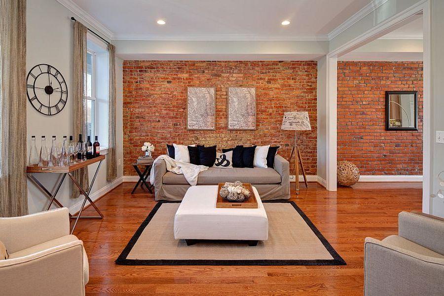 mur de briques à l'intérieur du salon
