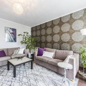 combinaison de papier peint dans le décor photo du salon