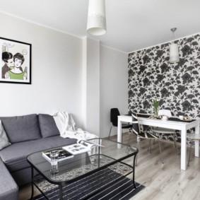 combinaison de papier peint dans le design photo du salon