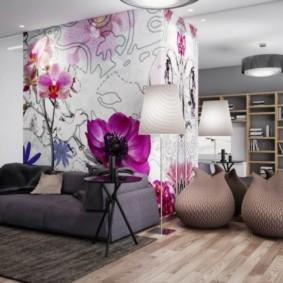 combinaison de papier peint dans la photo intérieure du salon