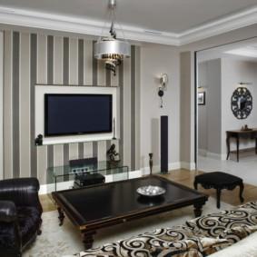 combinaison de papier peint dans la décoration photo du salon