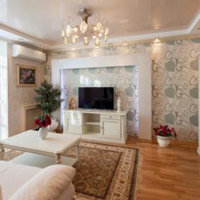 combinaison de papier peint dans les idées de décoration du salon