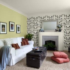 combinaison de papier peint dans les idées de conception de salon
