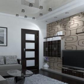 combinaison de papier peint à l'intérieur du salon