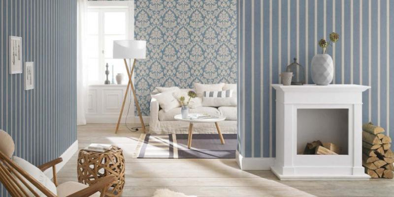 papier peint combiné dans le salon