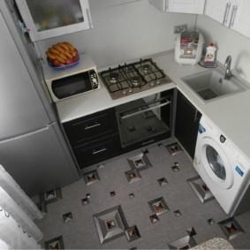 Linoléum avec une photo sur le sol de la cuisine