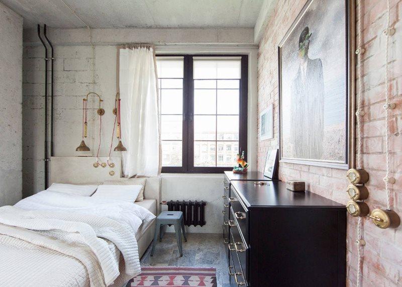 Conception d'une petite chambre avec des éléments d'un loft