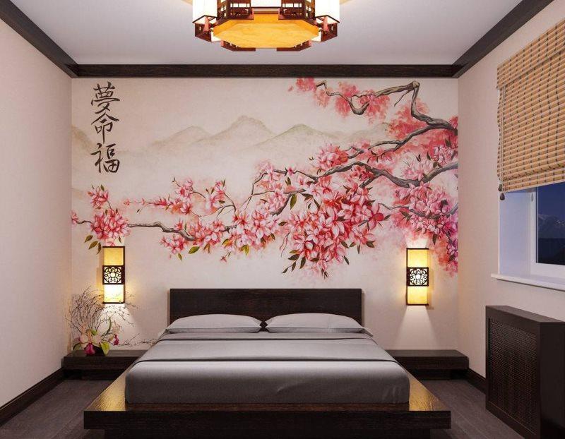 Rideaux en bambou de style japonais sur la fenêtre de la chambre