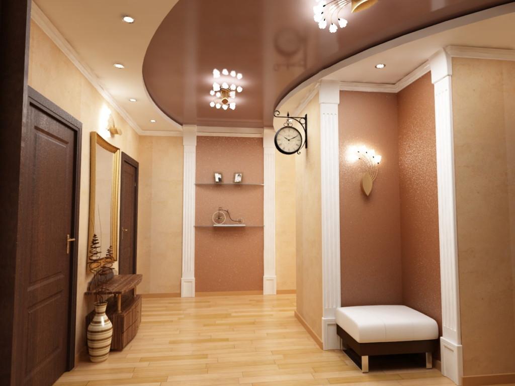 Plafond tendu marron dans un couloir spacieux