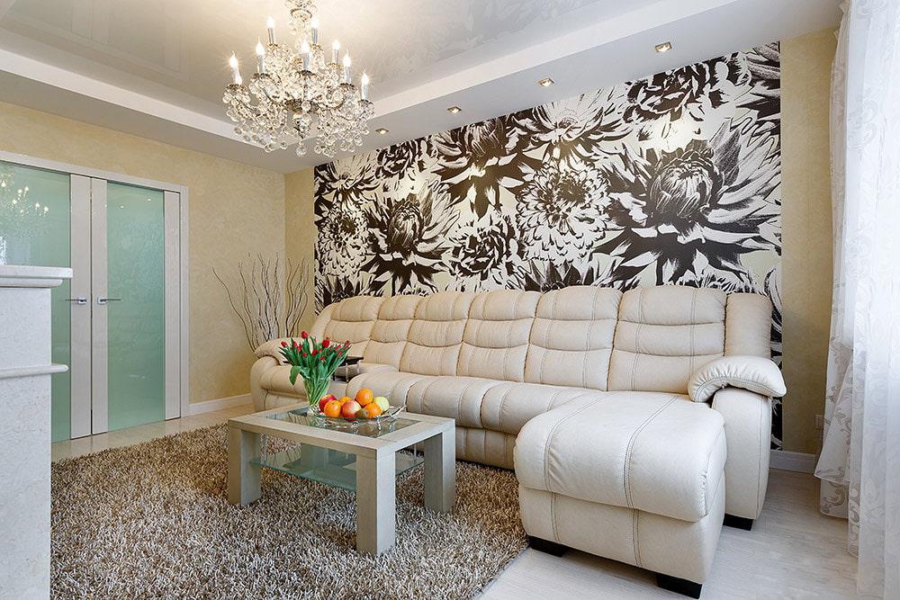 papier peint dans le salon